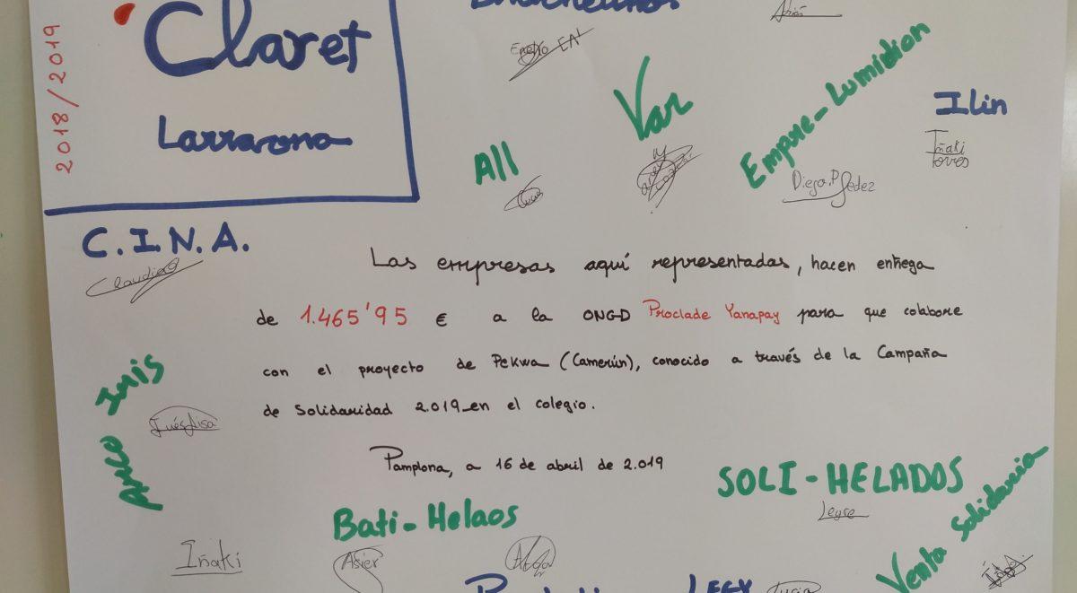 Campaña solidaria 2019, Proyecto empresa, dale la vuelta al mundo, claret Larraona, Proclade Yanapay, 6º primaria