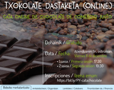 Bidezko merkataritzako onlineko txokolate-dastaketa – Catas online de chocolate de comercio justo